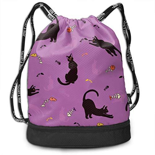 k Cats Multifunctiona Drawstring Sport Backpack Foldable Sackpack ()
