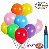 100Pcs Assortiment de Ballons, Ballon Gonflable avec Pompe à Ballon et Ruban de Satin, Ballons Colorées pour Fêtes, Anniversaires, Party, Ballons Gonflables, 30 cm Ballons en Latex, Couleur Aléatoire