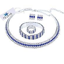 Santfe transparente 3 filas brillantes bañado en plata Gargantilla Collar + Pendientes + Pulsera + Anillo Jewelry Set para Boda Novia