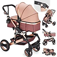 Hopopular 3 in 1 Foldable Luxury Baby Stroller Travel System with Anti-Shock Springs Newborn Baby Pushchair Adjustable High View Pram Travel System Infant Carriage Pushchair