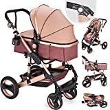 Hopopular Folding Luxury Baby Stroller Travel System with Anti-Shock Springs Newborn Baby Pushchair