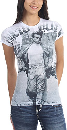 James Dean - Walking In New York Damen-T-Shirt In Sub-White Burnout, X-Large, Sub-White Burnout (White Burnout-t-shirt)