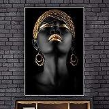 HANTAODG Stampa su Tela Dipinto Ad Olio di Donna Africana Nera Nuda su Manifesti di Tela E Stampe Artistiche da Parete Scandinave per Soggiorno 50Cmx70Cm