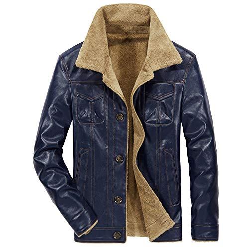 Zolimx Warme Jacke Langarm Samt Lederjacke Mode Herren Herbst Winter Casual Pocket Button Thermische Leder Mantel Slim Fit Jacken Top Coat