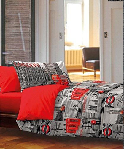 Linge Store Housse de Couette 1Place et demie Londres 100% Coton Produit Italien Rouge Gris London...