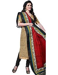 Vibrant Beige Bhagalpuri Silk Straight Suit With Dupatta.