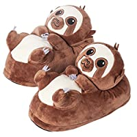 corimori 1847 (Various Animal Designs) Animal Shaped Plush Booties, Carpet Slippers, Henry the Sloth, Brown, Adults One Size 2.5 - 11