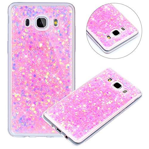 Surakey Compatible avec Coque Samsung Galaxy J5 2016,Paillette Strass Brillante Glitter Transparent Silicone TPU Souple Housse Etui Bumper Case Cover de Protection pour Galaxy J5 2016,Rose