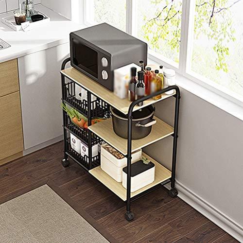 Kitchen furniture - Support de rangement multifonctionnel pour support de four à micro-ondes, type étage simple WXP (Couleur : Teak color)