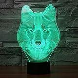 3D Visualisierung Erstaunlich leuchten LED Lampen Nachtlicht Birnen Wolf Kunst Skulptur leuchtet im produziert einzigartige Lichteffekte Cartoon und erstaunliche optische Täuschung Sieben Farben verwandeln