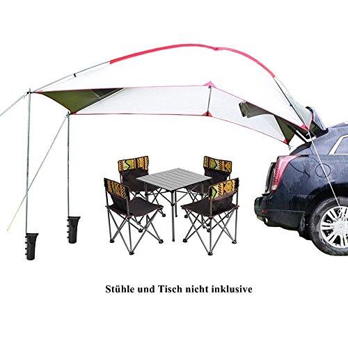TentHome Wasserdicht Auto Markise Wohnwagen Sonnensegel Wohnmobil Zeltplanen Tent Tarp Tragbare Leichte Camping Shelter (Weiß/Grün)