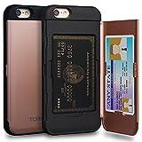 TORU CX Pro Funda iPhone 6S Carcasa Cartera Rosa con Tarjetero Oculto y Espejo para Apple iPhone 6S / iPhone 6 - Oro Rosa