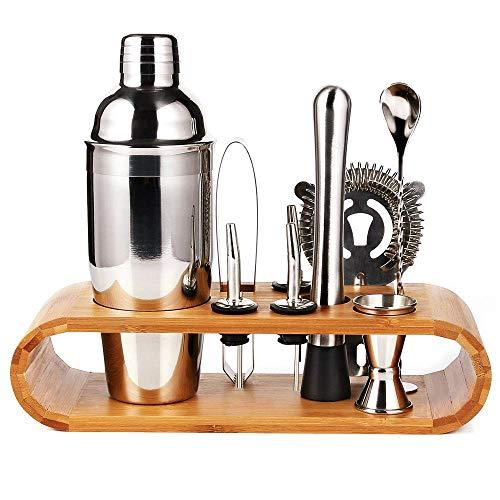 Barkeeper Set - Cocktail-Shaker Set Cocktail Zubehör 10-teiliges Bar Tool Set mit schlankem Bambus-Standfuß, Martini-Shaker für die Küche, Perfect Home Bartending Kit für ein fantastisches Mixerlebnis - Shaker Bar Set