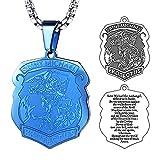 FaithHeart Blau Halskette für Herren mit Hundemarke Groß Anhänger Saint Michael Heilige Kette Religiöse Schmuck Länge: 50cm (+ 5cm)