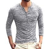 KPILP T-Shirt Männer Henry Kragen Tops Allgleiches Herbst Winter Solid Casual Langarm Button Schlank Bluse Grundlegende Shirt?Grau? M? Test