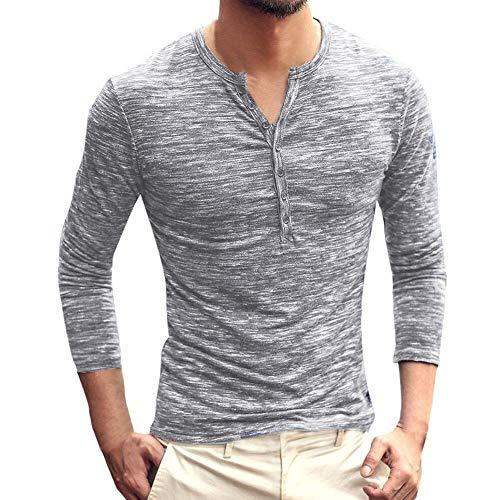 g star wollmantel KPILP T-Shirt Männer Henry Kragen Tops Allgleiches Herbst Winter Solid Casual Langarm Button Schlank Bluse Grundlegende Shirt?Grau? M?