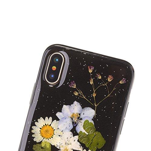 Mobiltelefonhülle - Für iPhone X Schwarz Epoxy Tropf Pressed Echte Getrocknete Blume Weiche Schutzhülle ( SKU : Ip8g0987k ) Ip8g0987e