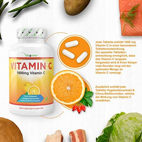 Vitamin C 1000mg, 365 Tabletten, Time Released Effekt, Vitamin C + Hagebuttenextrakt & Citrus-Bioflavonoide, vegane, hochdosiert, XXL Vorratspackung, Vit4ever - 5
