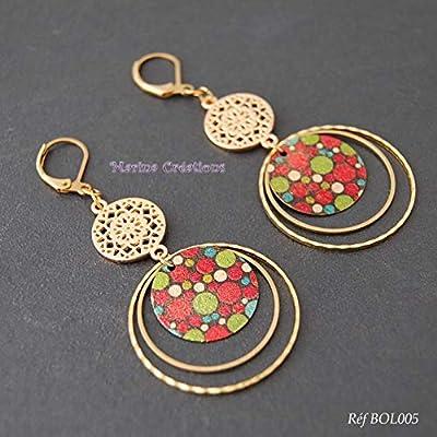 Boucles d'oreilles pendantes laiton à pois multicolores, idée cadeau