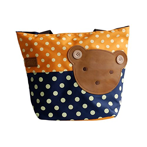 [Bear-orange] Blancho Applique enfants Tissu Art Sac à main/Shopper Bag-middile Taille (13.3 * 5.1 * 10.6)