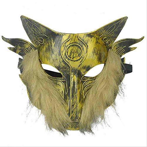 Kostüm Wolf Hood - PQNVN Halloween Horror Wolf Maske Hood Set Wilde Wolf Kopf Maske Ganze Person Lustige Tanzmaske Goldenes Haar, Goldenes Haar