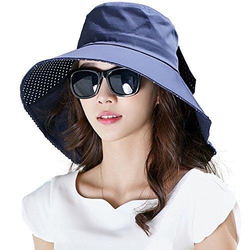 SIGGI schwarzer 100% Baumwolle Sommerhut mit Nackenschnur für Damen UPF 50 + Sun Shade Hut (Mit Hut Zöpfen)