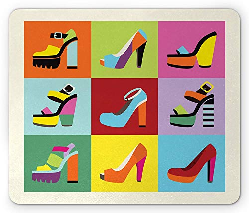 Fashion Mouse Pad, Retro Funky Stiletto Heels and Wedge Shoes Design in Pop Art Style Colorful Tiles, Standard Size Rectangle Non-Slip Rubber Mousepad, Multicolor 9.8 X 11.8 inch -