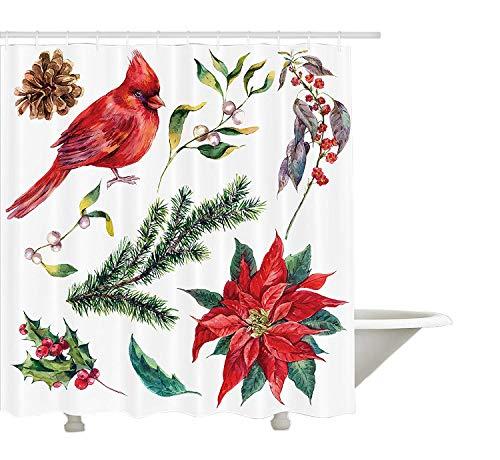 Yeuss Kardinal Duschvorhang, Aquarell Weihnachten Flora und Fauna Pinecone Fichte Zweig und Roter Kardinal Vogel, Stoff Badezimmer Dekor Set mit Haken, Multicolor