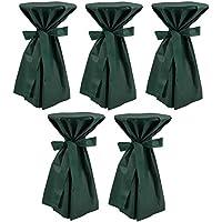 Sensalux, 5 Stehtischüberwürfe (nicht genäht) abwischbar - (Farbe nach Wahl), Überwurf grün Schleifenband grün, Tischdurchmesser 60-70 cm, die preisgünstige Alternative zur Husse
