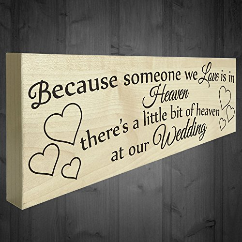 Wedding decorations for reception amazon red ocean because someone we love is in heaven theres a little bit of heaven at our wedding freestanding wooden plaque memorial sign table decoration junglespirit Choice Image
