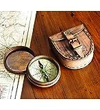 Wind & Weather - Bussola in ottone anticato con poesia (lingua inglese) e custodia in pelle