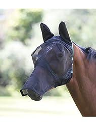Shires Filet en maille Fine anti-mouches Masque de protection visage complet avec nez, oreilles & Extension