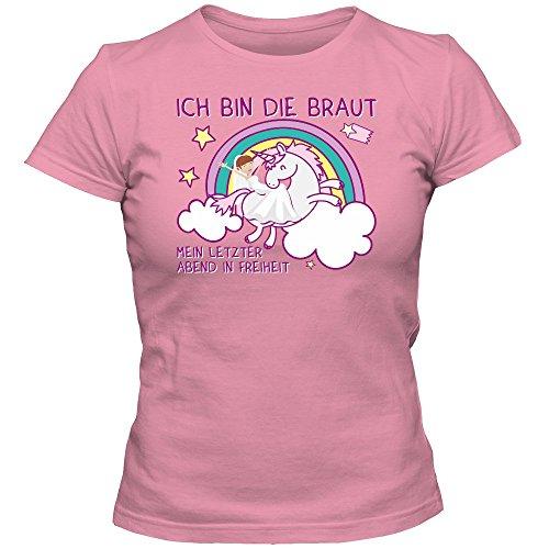 JGA #9 Einhorn T-Shirt Junggesellinnenabschied Damen Regenbogen Bachelorette Party Alkohol Unicorn, Farbe:Pink (Orchid Pink L191);Größe:M