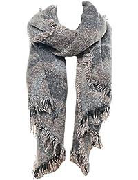 Mevina Schal Camouflage und Fransen Tarnfleck Wolle groß Schal Spitz asymmetrisch Halstuch Deckenschal XXL