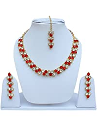 Lucky Jewellery Elegant Designer Red Color Antique Necklace Set For Girls & Women - B0771QDFY4