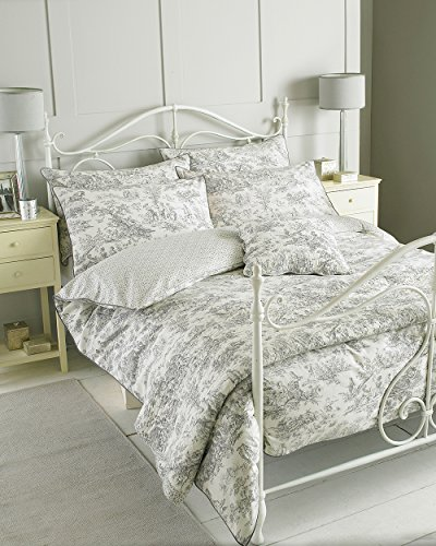 Riva 100% Baumwolle Canterbury Tales Traditionelles Design Bettbezug Set Grau - Double Bed Size (Count Natürlichen Thread)