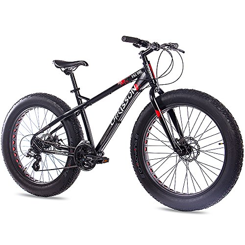 "CHRISSON 26"" Zoll Fat Bike Mountainbike Fahrrad Fat ONE mit 24 Gang Shimano ALIVIO/Altus schwarz matt"
