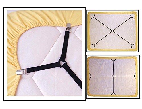 Fantastische Home verstellbar Robustes Bett Tabelle (4Stück), Cover Greifer Strapse Halterung Band Riemen Clips gurthalteband, schwarz, Nylon, One Set Crisscross, 0.99*33.54inch -