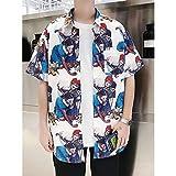 MOTOCO Herren Hawaiihemd 3D-Druck Lässig Button-Down-Strand Funky Holiday Aloha Beach Palms Sommer Kurzarmhemd(2XL,Weiß-1)