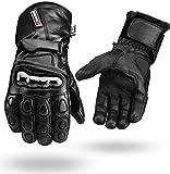 Schwarz Winter Wasserfest Leder Handschuhe 4 Motorrad Knuckle Schutz - Schwarz, XL