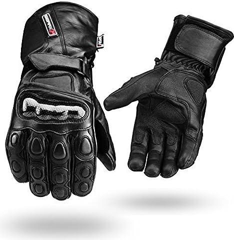 Black Winter Waterproof Leather Gloves 4 Motorbike Knuckle Guard S