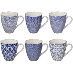 Tokyo Design Studio Nippon Blue Tassen Set aus hochwertigem Porzellan. 6-er Set Tassen mit Henkel. Jede Kaffeetasse / Teetasse fasst 300 ml. Elegantes Muster. Spülmaschinenfest. Mikrowellengeeignet.