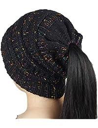 Mattelsen Gorros con Coleta Mujer Invierno Gorro Caliente de Punto con Agujero  Sombreros de Invierno Knit… a93ad3fd413