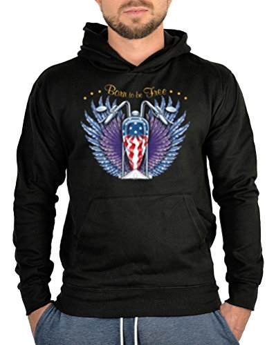 Kapuzen Sweater Pullover USA Bike Born to be Free für Biker Motoradfahrer Hard Rock harte Kerle Hoody Sweater - Hard-rock-jacke