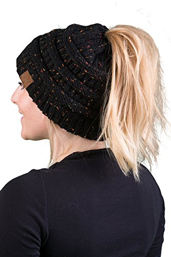 Funky Junque CC BeanieTail Womens Ponytail Messy Bun Beanie Multi Color Ribbed Hat Cap (Knit Cable Womens Beanie)