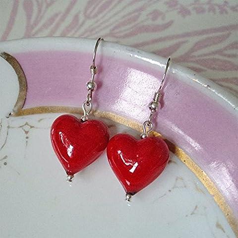 Diana Ingram red pastel Murano glass small heart (13mm) earrings