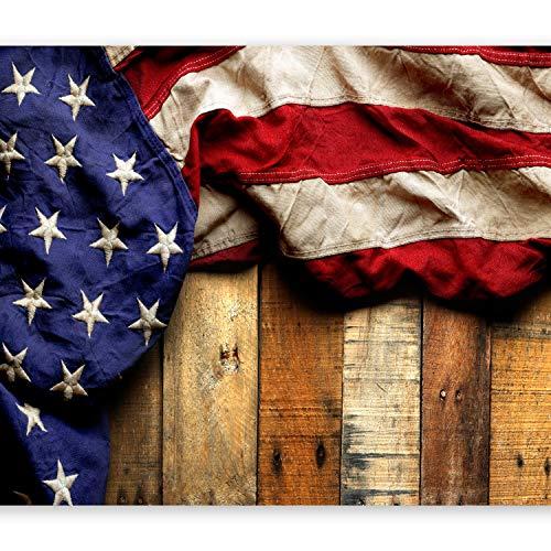 murando - Fototapete selbstklebend Fahne America 294x210 cm decor Tapeten Wandtapete klebend Klebefolie Dekofolie Tapetenfolie - Holz Bretter USA blau rot braun f-B-0132-a-a