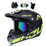 MRDEER Motocross Helm, Adult Off Road Helm mit Handschuhe Maske Brille, Unisex Motorradhelm Cross Helme Schutzhelm ATV Helm für Männer Damen Sicherheit Schutz, 5 Stile Verfügbar,A,XL