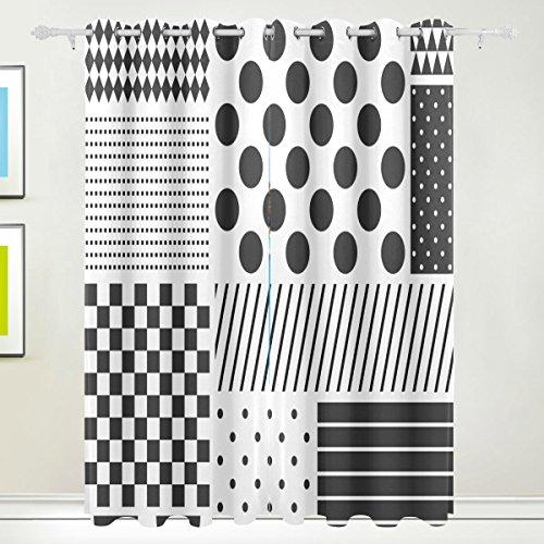 XiangHeFu Schöne Einrichtung Verdunklungsvorhänge mit Tülle Top Polka Dots Patchwork schwarz weiß Vorhänge Set von 2Platten, je 55W x 84L Zoll für Home Wohnzimmer Schlafzimmer Büro (Schwarzen Weißen Polka-dot-platten Und)
