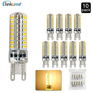 ELINKUME G9 LED Warm White Lighting Bulbs 400Lumen 4.5W 64SMD 2835 LED Super Bright Energy Saving Bulbs Indoor Lighting AC 220V( 10pcs )